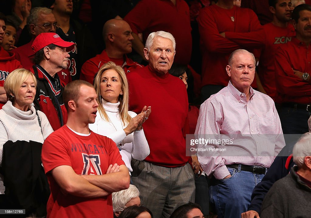 Retired Arizona Wildcats head coach, <a gi-track='captionPersonalityLinkClicked' href=/galleries/search?phrase=Lute+Olson&family=editorial&specificpeople=217777 ng-click='$event.stopPropagation()'>Lute Olson</a> attends the college basketball game against the Florida Gators at McKale Center on December 15, 2012 in Tucson, Arizona. The Wildcats defeated the Gators 65-64.