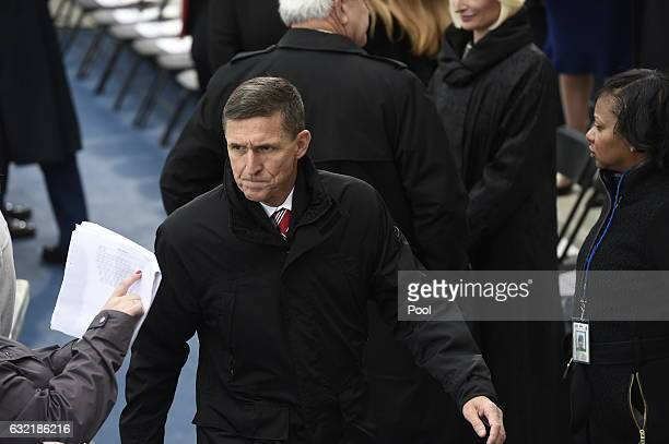Retired Army Lt General Michael Flynn arrives for the Presidential Inauguration of Donald Trump at the US Capitol on January 20 2017 in Washington DC...