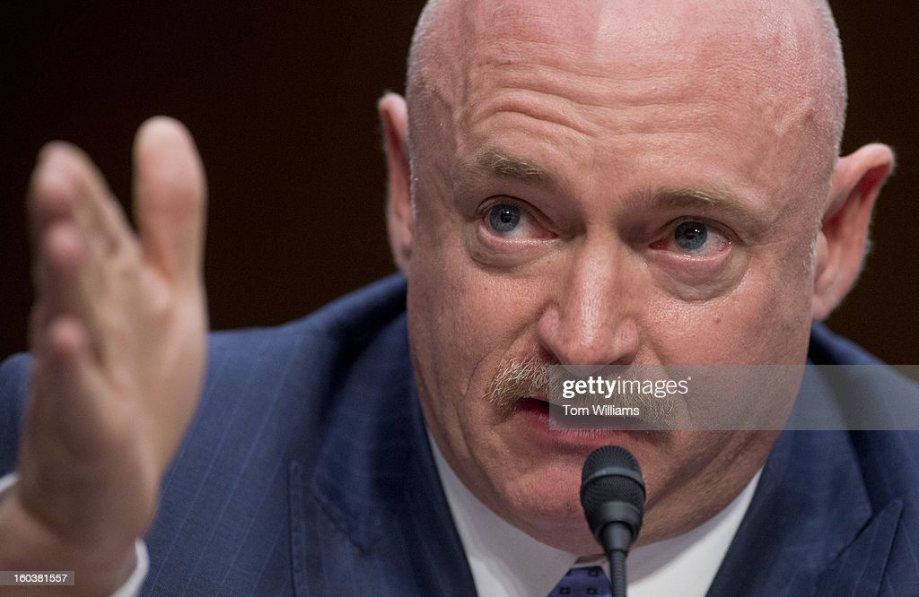 Retired astronaut and Navy Capt. Mark Kelly, husband of former Rep. Gabrielle Giffords, D-Ariz., testifies before a Senate Judiciary Committee hearing in Hart Building entitled 'What Should America Do About Gun Violence?' Giffords was severely wounded during a mass shooting in Tucson, Ariz., in 2011.