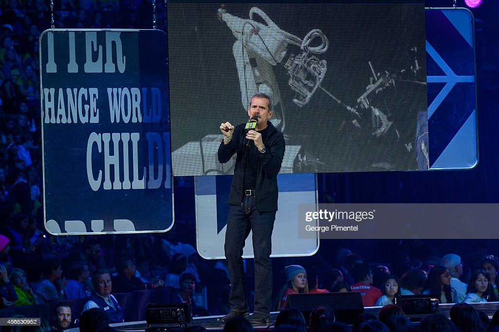 Retired Astronaut <a gi-track='captionPersonalityLinkClicked' href=/galleries/search?phrase=Chris+Hadfield&family=editorial&specificpeople=2700911 ng-click='$event.stopPropagation()'>Chris Hadfield</a> speaks at We Day Toronto at the Air Canada Centre on October 2, 2014 in Toronto, Canada.