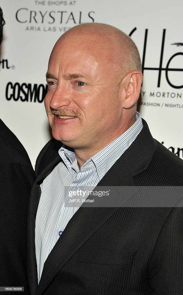 Retired astronaut Mark Kelly arrives at the grand opening of SHe by Morton's at Crystals at CityCenter on February 2, 2013 in Las Vegas, Nevada.