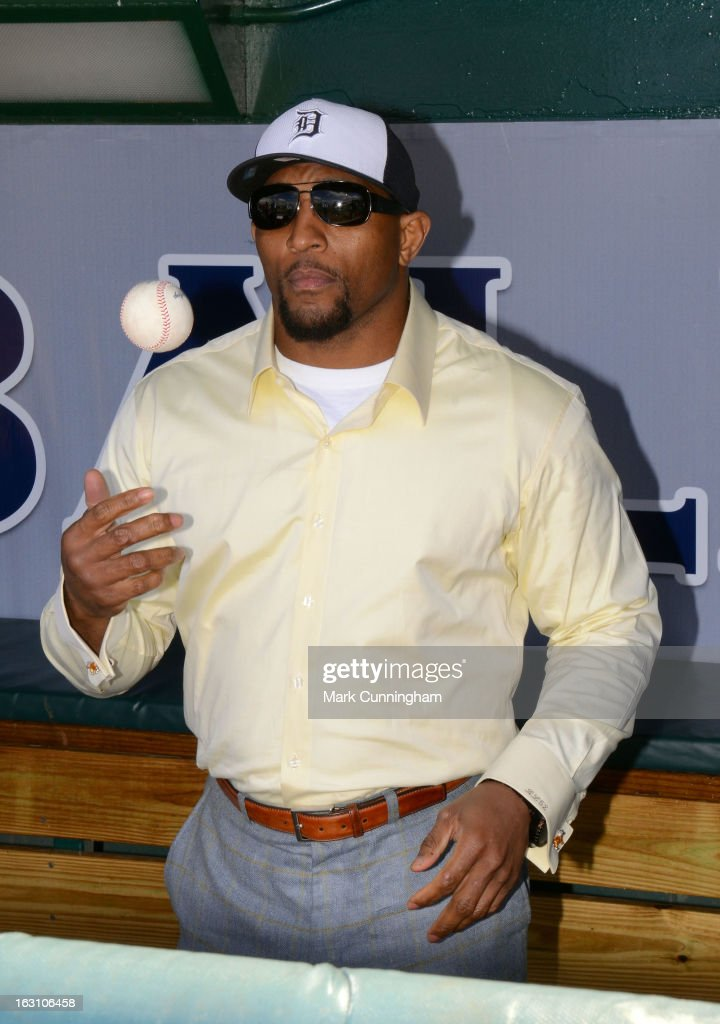Retired Baltimore Ravens linebacker <a gi-track='captionPersonalityLinkClicked' href=/galleries/search?phrase=Ray+Lewis&family=editorial&specificpeople=171809 ng-click='$event.stopPropagation()'>Ray Lewis</a> looks on before throwing out the ceremonial first pitch prior to the spring training game between the Detroit Tigers and the Pittsburgh Pirates at Joker Marchant Stadium on March 2, 2013 in Lakeland, Florida. The Tigers defeated the Pirates 4-1.