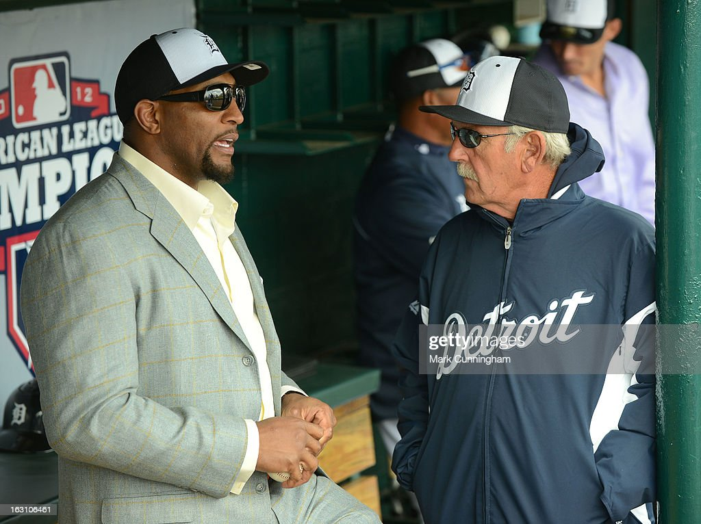 Retired Baltimore Ravens linebacker Ray Lewis talks with Detroit Tigers manager Jim Leyland #10 prior to the spring training game against the Pittsburgh Pirates at Joker Marchant Stadium on March 2, 2013 in Lakeland, Florida. The Tigers defeated the Pirates 4-1.