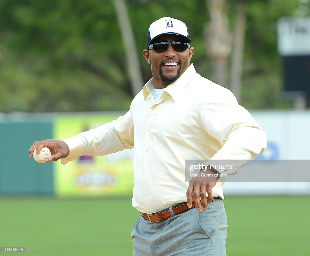 Retired Baltimore Ravens linebacker Ray Lewis throws out the ceremonial first pitch prior to the spring training game between the Detroit Tigers and the Pittsburgh Pirates at Joker Marchant Stadium on March 2, 2013 in Lakeland, Florida. The Tigers defeated the Pirates 4-1.