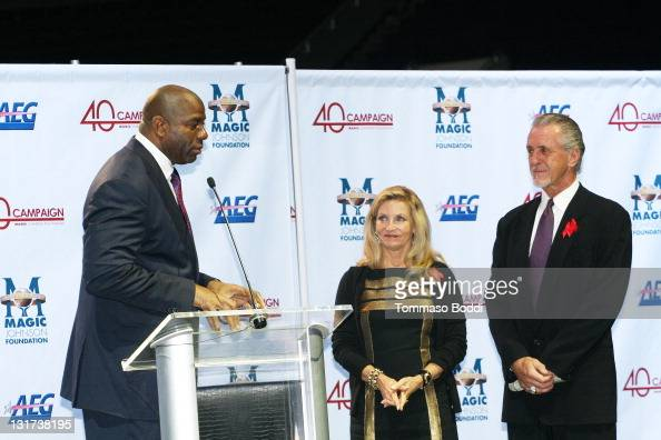 Retired basketball player Magic Johnson Chris Riley and Miami Heat president Pat Riley attend the 20th Anniversary Of The Magic Johnson Foundation...