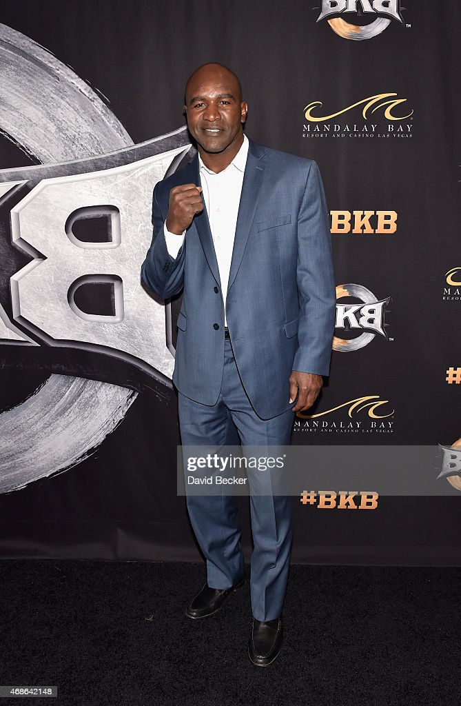 Retired boxer <a gi-track='captionPersonalityLinkClicked' href=/galleries/search?phrase=Evander+Holyfield&family=editorial&specificpeople=194938 ng-click='$event.stopPropagation()'>Evander Holyfield</a> attends BKB 2, Big Knockout Boxing, at the Mandalay Bay Events Center on April 4, 2015 in Las Vegas, Nevada.