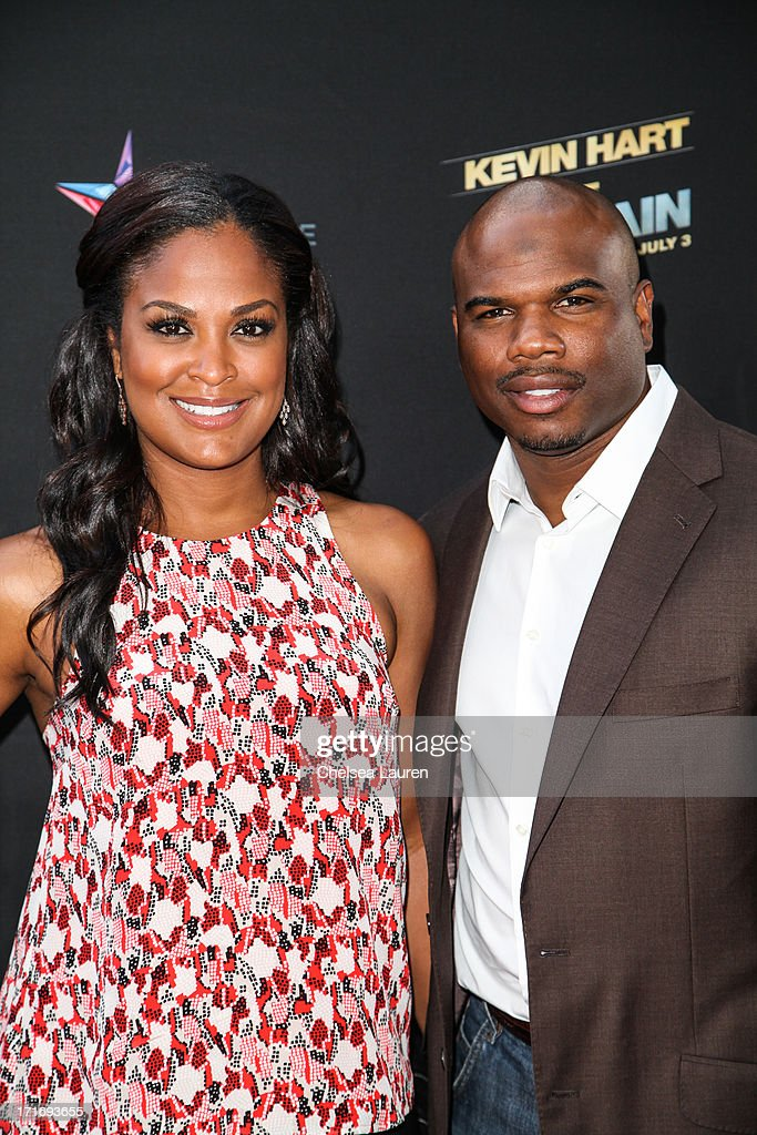 Retired boxer Laila Ali and former NFL player Curtis Conway arrive at the 'Kevin Hart Let Me Explain' premiere at Regal Cinemas LA Live on June 27...