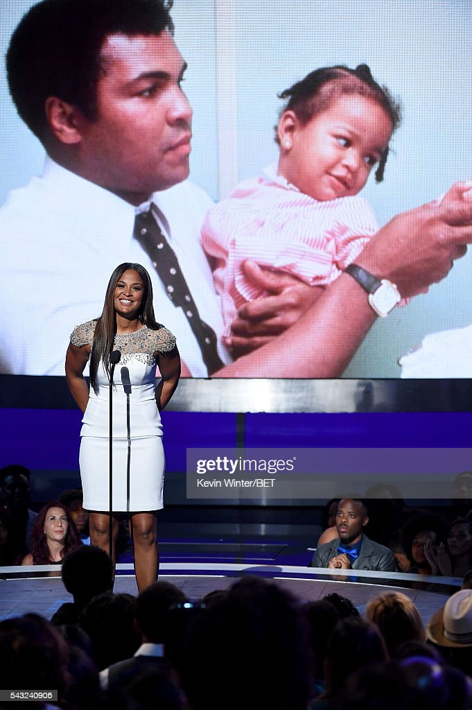 Retired boxer <a gi-track='captionPersonalityLinkClicked' href=/galleries/search?phrase=Laila+Ali+-+Boxer&family=editorial&specificpeople=204687 ng-click='$event.stopPropagation()'>Laila Ali</a> speaks onstage during the 2016 BET Awards at the Microsoft Theater on June 26, 2016 in Los Angeles, California.