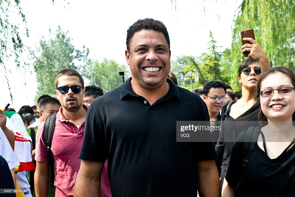 Retired Brazilian footballer Ronaldo Luis Nazario de Lima attends football activity at Beijing 101 Middle School on June 30, 2016 in Beijing, China. Ronaldo participated the football activity at Beijing 101 Middle School and was appointed as the football charity ambassador of China Children and Teenagers' Fund on Thursday.