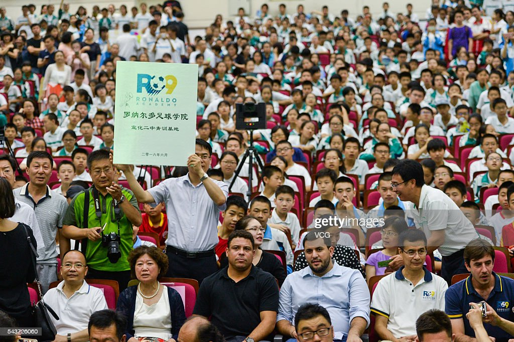 Retired Brazilian footballer Ronaldo Luis Nazario de Lima attends football activity at Beijing 101 Middle School on June 30, 2016 in Beijing, China. Ronaldo participated the football activity at Beijing 101 Middle School and was appointed as Youth Football Goodwill Ambassador by China Children and Teenagers' Fund on Thursday.