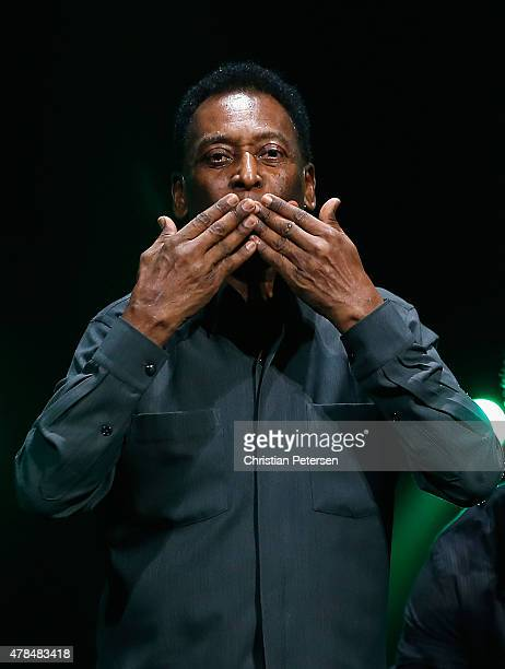 Retired Brazilian professional footballer Pele speaks during the Electronic Arts E3 press conference at the LA Sports Arena on June 15 2015 in Los...