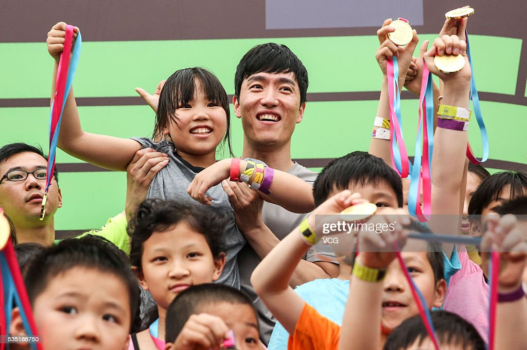 Retired Chinese hurdler <a gi-track='captionPersonalityLinkClicked' href=/galleries/search?phrase=Liu+Xiang&family=editorial&specificpeople=204372 ng-click='$event.stopPropagation()'>Liu Xiang</a> attends a commercial activity on May 29, 2016 in Shanghai, China.
