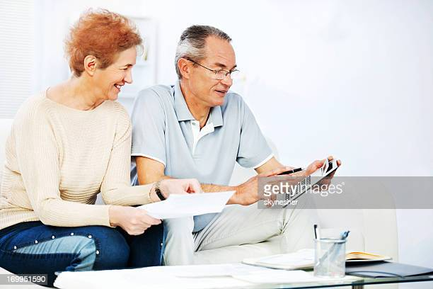 Retired couple doing their taxes