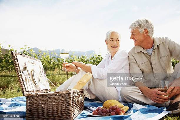 Retired couple enjoying a picnic at the countryside