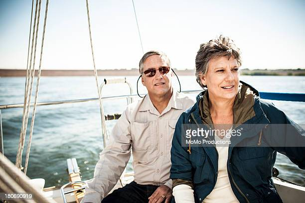 Retired couple on sailboat