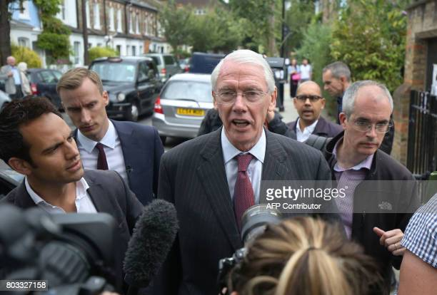 Retired Court of Appeal judge Sir Martin MooreBick who will lead the Grenfell Tower fire public inquiry speaks to the media at St Clement's Church...