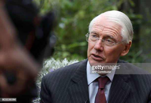 Retired Court of Appeal judge Sir Martin MooreBick who will lead the Grenfell Tower fire public inquiry speaks to the media outside St Clement's...