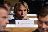 Retired Czech football midfielder ambassador for the 2015 UEFA European Under21 Championship and Juventus representative Pavel Nedved attends the...