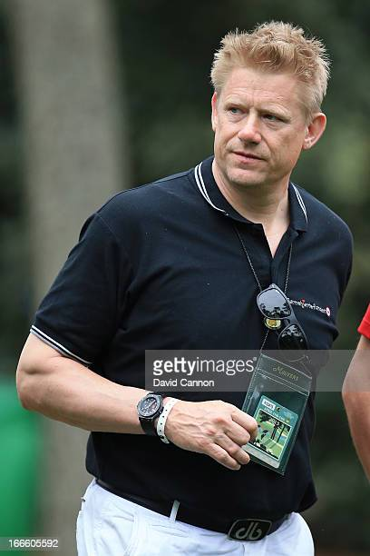 Retired Danish professional footballer Peter Schmeichel attends the final round of the 2013 Masters Tournament at Augusta National Golf Club on April...
