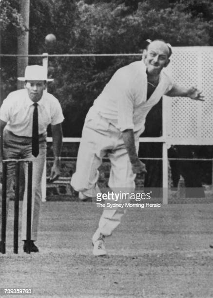 Retired England fast bowler Frank 'Typhoon' Tyson makes a brief comeback in a social game in Sydney Australia 19th January 1971