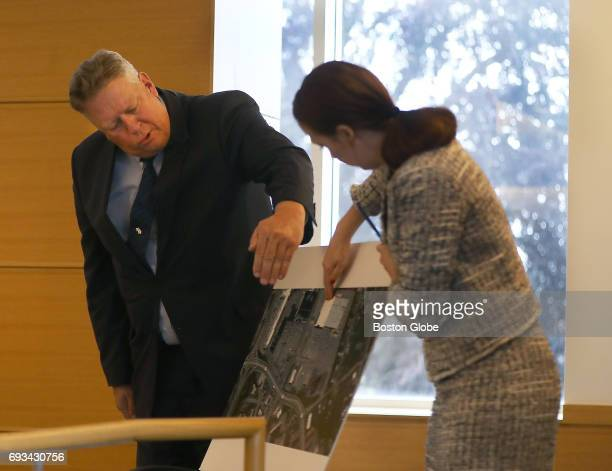 Retired Fairhaven Officer David Michael Correia goes over a map of part of his search area with ADA Katie Rayburn as the trial of Michelle Carter...