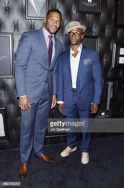 Retired football player/TV personality Michael Strahan and actor Taye Diggs attend the JCPenney x Michael Strahan launch party at JCPenney on...