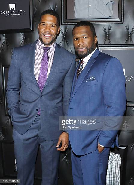 Retired football player/TV personality Michael Strahan and rapper 50 Cent attend the JCPenney x Michael Strahan launch party at JCPenney on September...