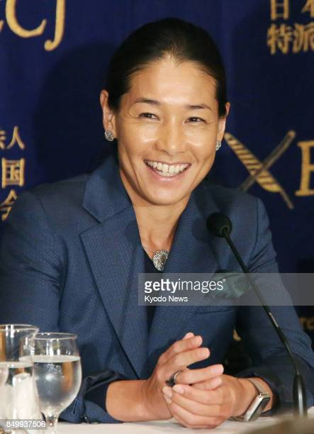 Retired former world No 4 tennis player Kimiko Date attends a press conference on Sept 20 at the Foreign Correspondents' Club of Japan in Tokyo Date...