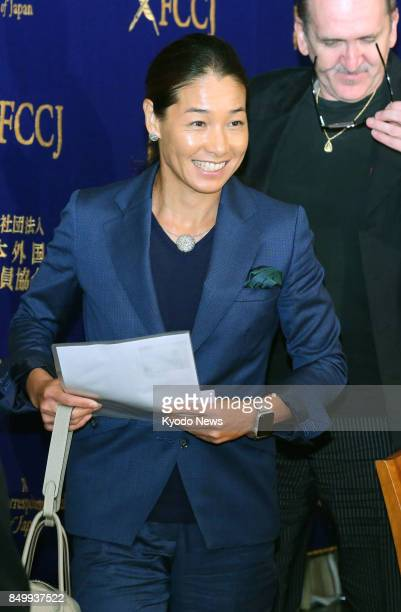 Retired former world No 4 tennis player Kimiko Date completes a press conference on Sept 20 at the Foreign Correspondents' Club of Japan in Tokyo...