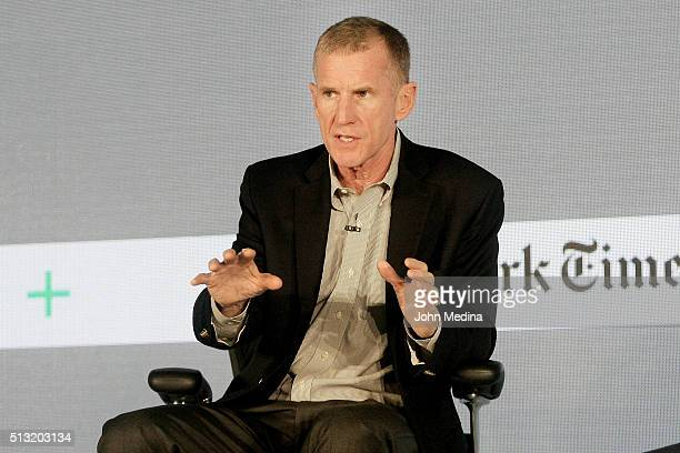 Retired General Stanley A McChrystal McChrystal Group LLC partner speaks onstage at The New York Times New Work Summit on March 1 2016 in Half Moon...