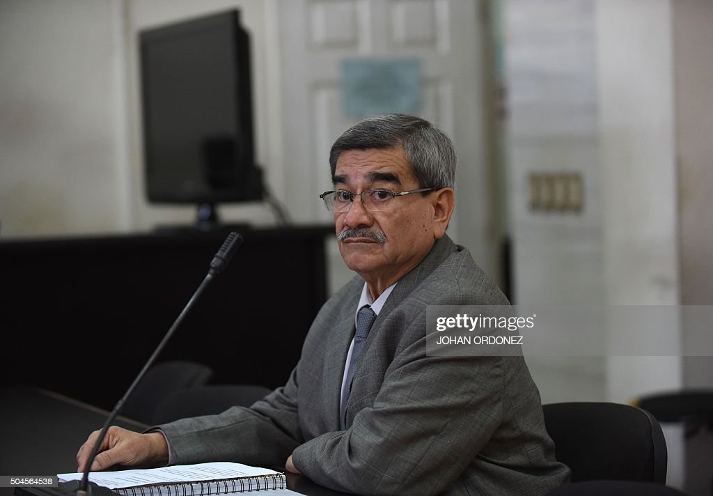 Retired Guatemalan General Jose Rodriguez is seen in court before a scheduled hearing against former Guatemalan dictator Jose Efrain Rios Montt was...