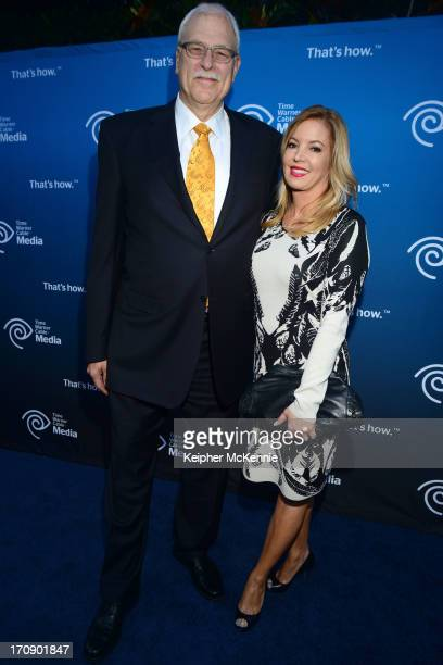 Retired head coach Phil Jackson and EVP Jeanie Buss attend Time Warner Cable 'View From The Top' Upfront honoring LA Lakers' Dr Jerry Buss at Vibiana...