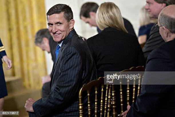 Retired Lieutenant General Michael Flynn US national security advisor attends a swearing in ceremony of White House senior staff in the East Room of...