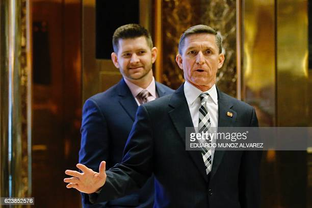 Retired Lt Gen Michael Flynn arrives at the Trump Tower for meetings with US Presidentelect Donald Trump in New York on November 17 2016 / AFP /...