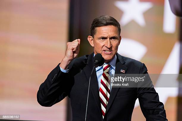 Retired Lt Gen Michael Flynn delivers a speech on the first day of the Republican National Convention on July 18 2016 at the Quicken Loans Arena in...