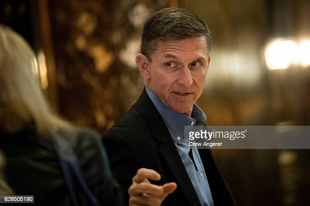 Retired Lt Gen Michael Flynn Presidentelect Donald Trump's choice for National Security Advisor walks through the lobby at Trump Tower November 29...