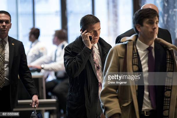 Retired Lt Gen Michael Flynn Presidentelect Donald Trump's choice for National Security Advisor arrives at Trump Tower January 12 2017 in New York...