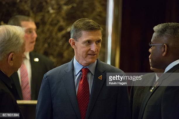 Retired Lt Gen Michael T Flynn the choice of Presidentelect Donald J Trump for national security adviser talks with colleagues at Trump Tower on...