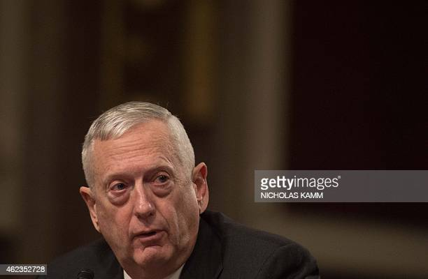 Retired Marine Corps Gen James Mattis former commander of the US Central Command speaks duriing a Senate Armed Services Committee on global...