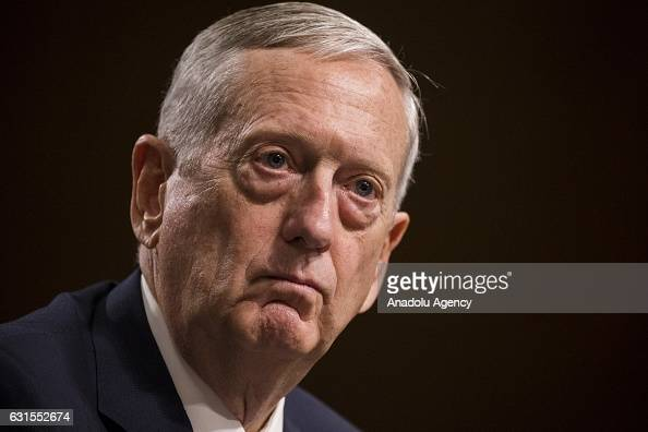 Retired Marine Corps General James Mattis arrives to testify before the Senate Armed Services Committee who is deciding whether or not to confirm...