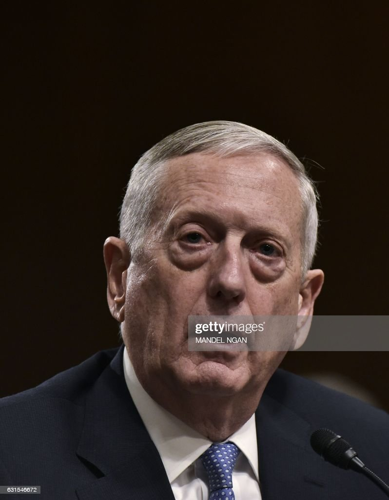 Retired Marine Corps general James Mattis testifies before the Senate Armed Services Committee on his nomination to be the next secretary of defense in the Dirksen Senate Office Building on Capitol Hill in Washington, DC on January 12, 2017. / AFP / MANDEL