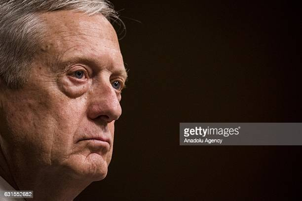 Retired Marine Corps General James Mattis testifies before the Senate Armed Services Committee who is deciding whether or not to confirm...