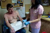 Retired miner Eric Giedel who suffers from black lung visits Dr Don Rasmussen for a cardo pluinary stress test