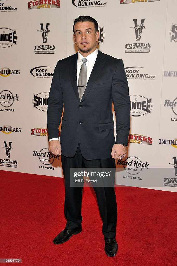 Retired mixed martial artist Frank Mir arrives at the Fighters Only World Mixed Martial Arts Awards at the Hard Rock Hotel & Casino on January 11, 2013 in Las Vegas, Nevada.