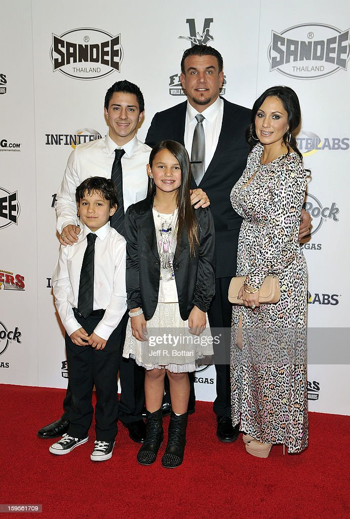 Retired mixed martial artist Frank Mir arrives with his family at the Fighters Only World Mixed Martial Arts Awards at the Hard Rock Hotel & Casino on January 11, 2013 in Las Vegas, Nevada.