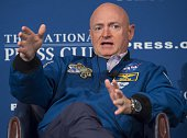 Retired NASA Astronaut Mark Kelly speaks about his time in space during an event at the National Press Club in Washington DC September 14 2015AFP...