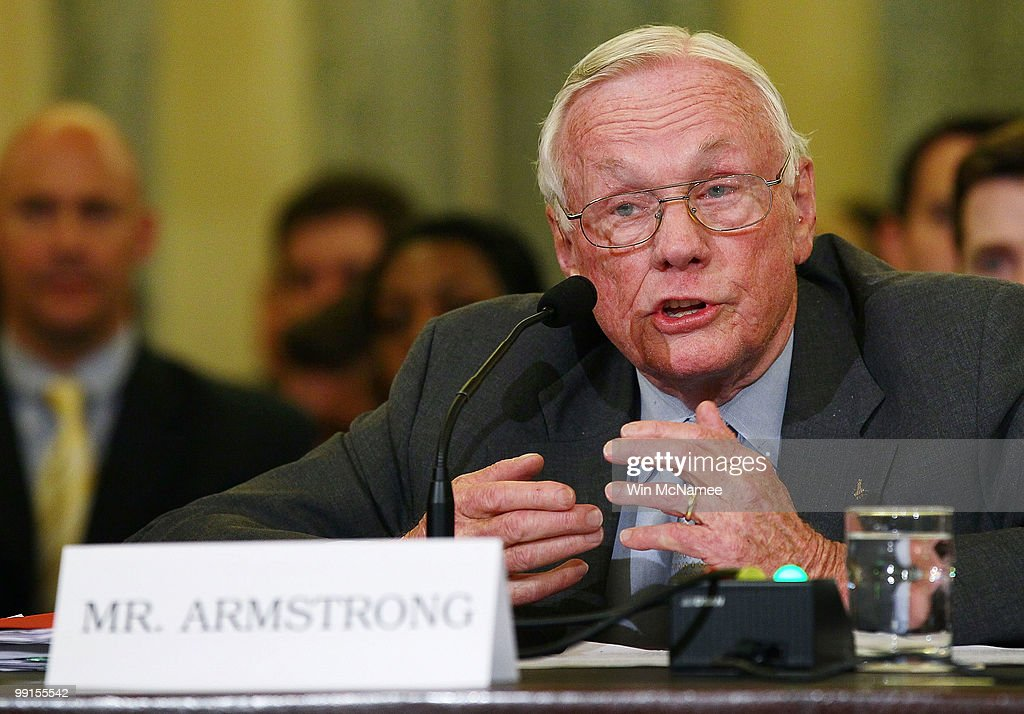 Retired NASA astronaut Neil Armstrong (L), commander of the Apollo 11 mission and the first man to walk on the moon, testifies on Capitol Hill May 12, 2010 in Washington, DC. Armstong and Cernan testified before the Senate Commerce, Science and Transportation Committee on the future of U.S. human space flight.