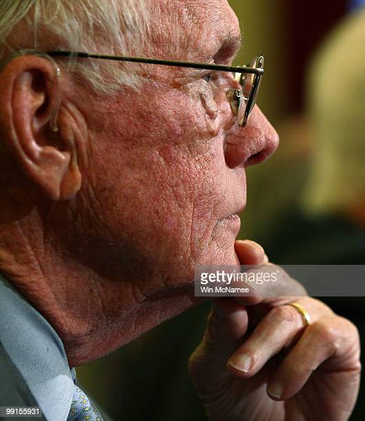 Retired NASA astronaut Neil Armstrong commander of the Apollo 11 mission and the first man to walk on the moon testifies on Capitol Hill May 12 2010...