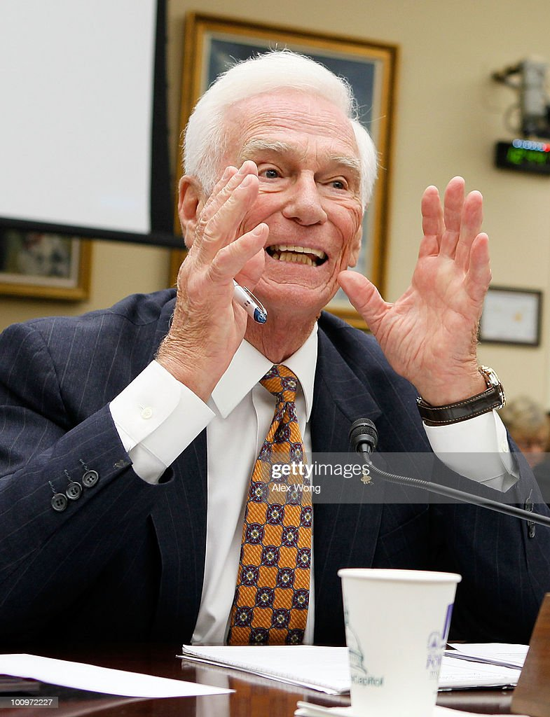 Retired Navy Captain and commander of Apollo 17 Eugene Cernan testifies during a hearing before the House Science and Technology Committee May 26, 2010 on Capitol Hill in Washington, DC. The hearing was to review proposed human spaceflight plan by NASA.