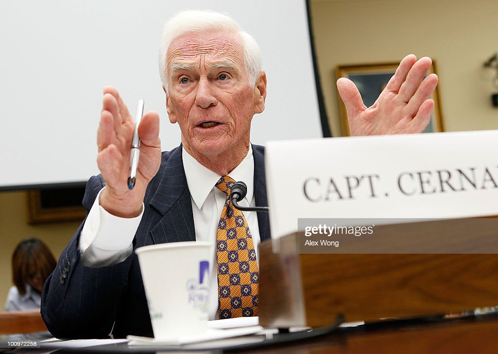 Retired Navy Captain and commander of Apollo 17 <a gi-track='captionPersonalityLinkClicked' href=/galleries/search?phrase=Eugene+Cernan&family=editorial&specificpeople=90800 ng-click='$event.stopPropagation()'>Eugene Cernan</a> testifies during a hearing before the House Science and Technology Committee May 26, 2010 on Capitol Hill in Washington, DC. The hearing was to review proposed human spaceflight plan by NASA.
